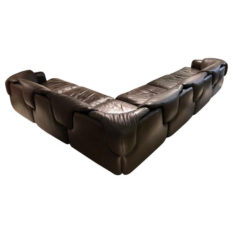 Alberto Roselli Leather Modular Sofa For Sale