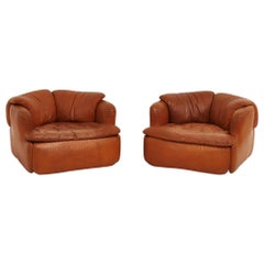 "Alberto Rosselli for Saporiti Brown Leather ""Confidential"" Lounge Chairs"