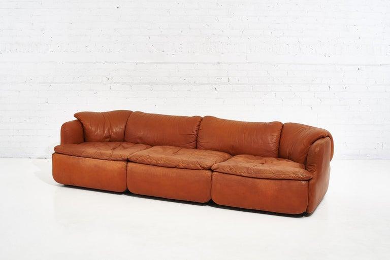 "Alberto Rosselli for Saporiti brown leather ""Confidential"" Sofa, 1970's. Perfectly ""broken in"" patina."