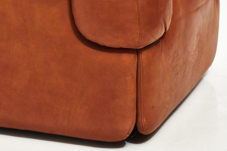 """Alberto Rosselli for Saporiti Brown Leather """"Confidential"""" Sofa, 1970's For Sale 3"""