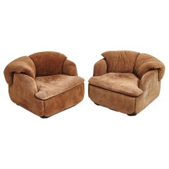 """Alberto Rosselli for Saporiti Brown Suede """"Confidential"""" Lounge Chairs, 1972"""