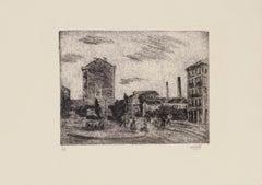 Outskirts of Milan - Original Etching by Alberto Salietti - 1940s