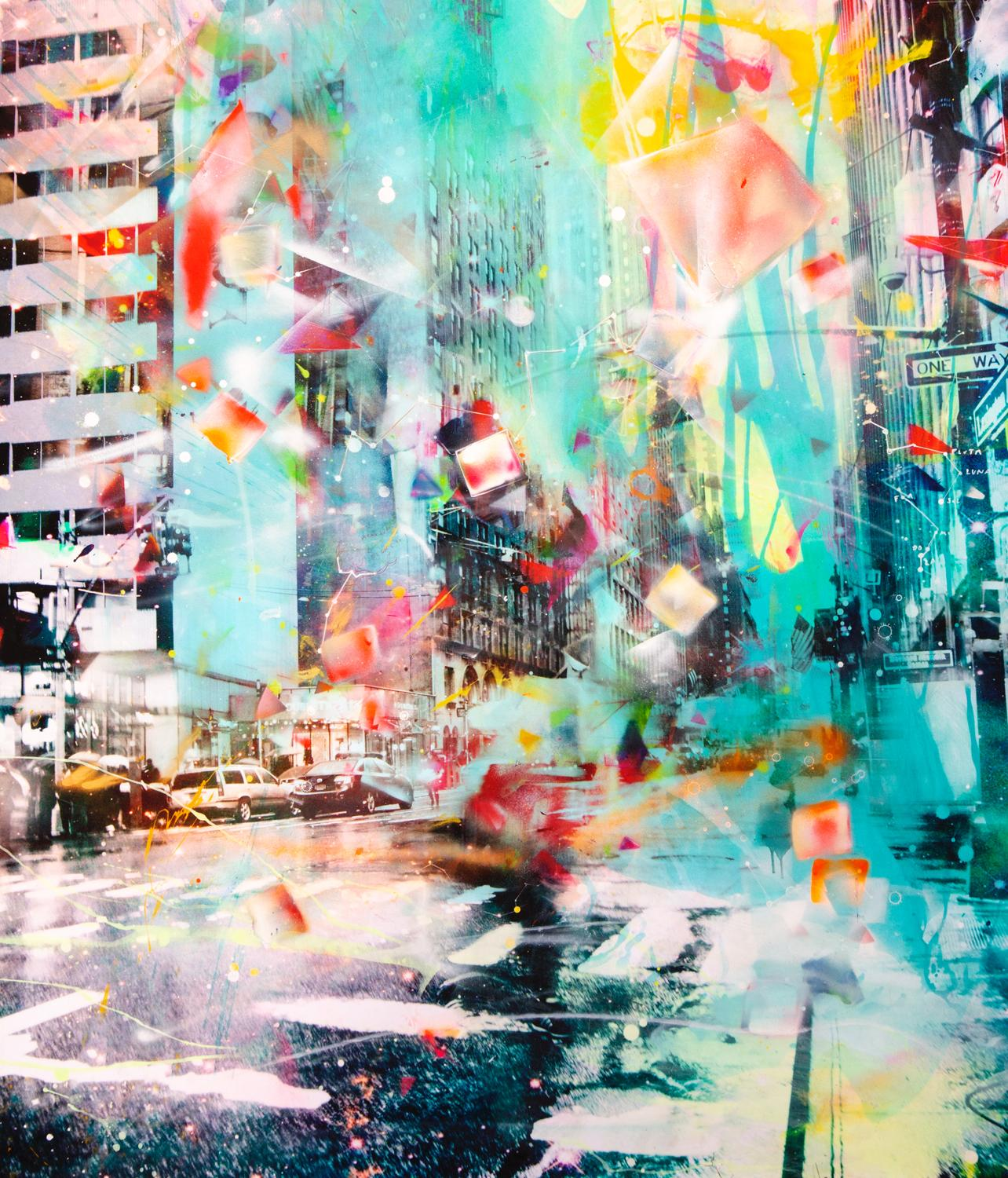 Double Tree - colorful handpainted photography, New York scene, contemporary