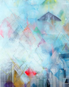 Unforgotten Series #1 - Handpainted photography, colorful abstract urban scene