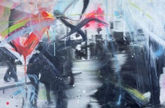Unforgotten Series #2 - Handpainted photography, colorful abstract urban scene