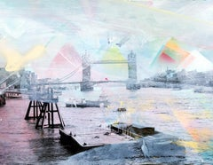 Unforgotten Series #5 - Handpainted photography, colorful abstract Tower Bridge