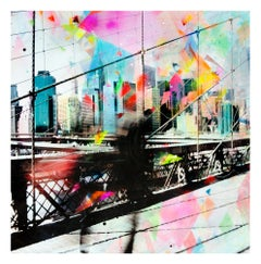 Ficciones - colorful handpainted photography, New York scene, contemporary