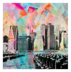 Junto al Muelle - colorful handpainted photography, New York scene, contemporary