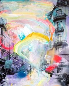Unforgotten Series - colorful handpainted photography, urban scene, contemporary