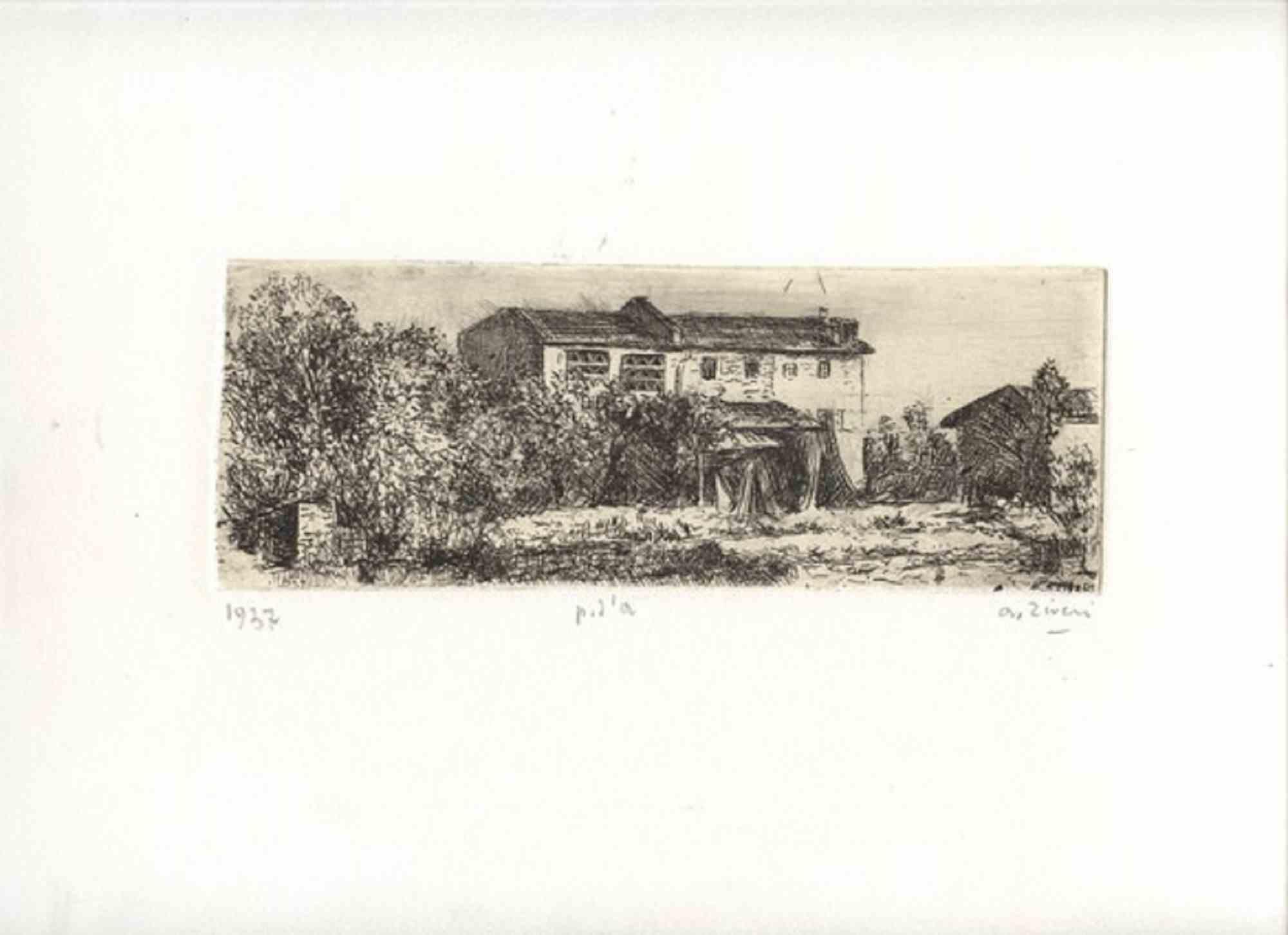Emilian Countryside Landscape - Original Etching by Alberto Ziveri - 1937