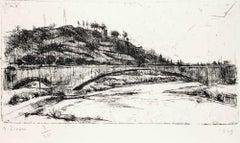 Rome, Landscape - Original Etching by Alberto Ziveri - 1949