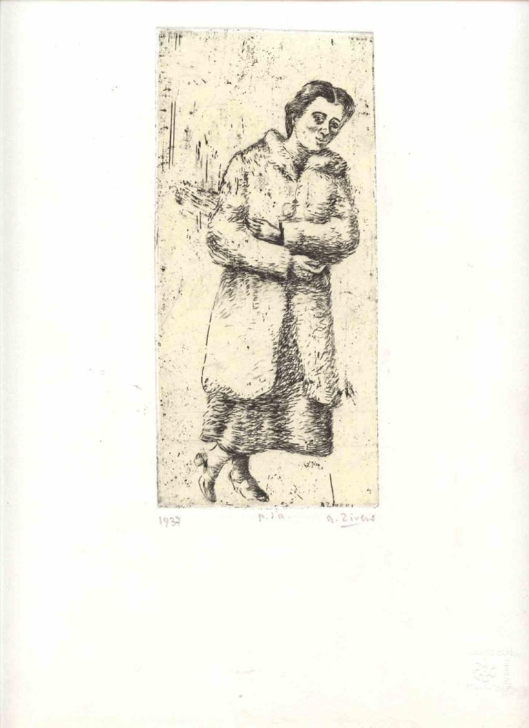 """Standing Katy, 1937 Dry-point engraving,  19,5 x 9 cm engraving (36 x 25,5 cm sheet) Signed lower right on the engraving: A. Ziveri; Signed, dated and example lower on the sheet: A. Ziveri, 1937, proof of author; """"Ziveri. Le incisioni. Catalogo"""