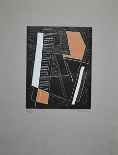 Abstract Brown Composition - Original Woodcut by Alberto Magnelli - 1970s