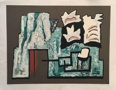 Abstract Composition - Original Screen Print by A. Magnelli - 1962
