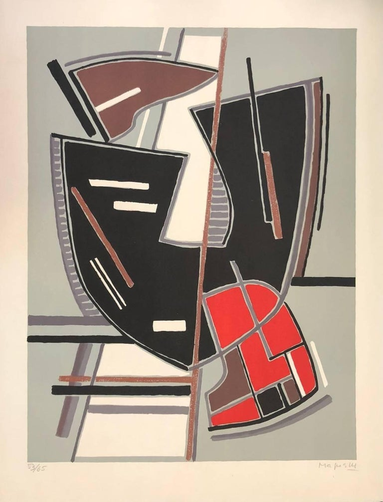 Alberto Magnelli Abstract Print - Abstract Composition with Red - Original Litho by A. Magnelli - 1965