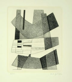 Geometric Black and White - Original Etching by A. Magnelli - 1964