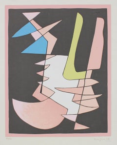 Modernist Geometric Abstract 1950 Serigraph with Pink
