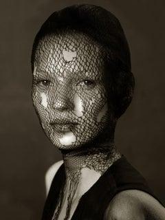 Kate Moss (Veil) – Albert Watson, Model, Portrait, Woman, Art, Photography