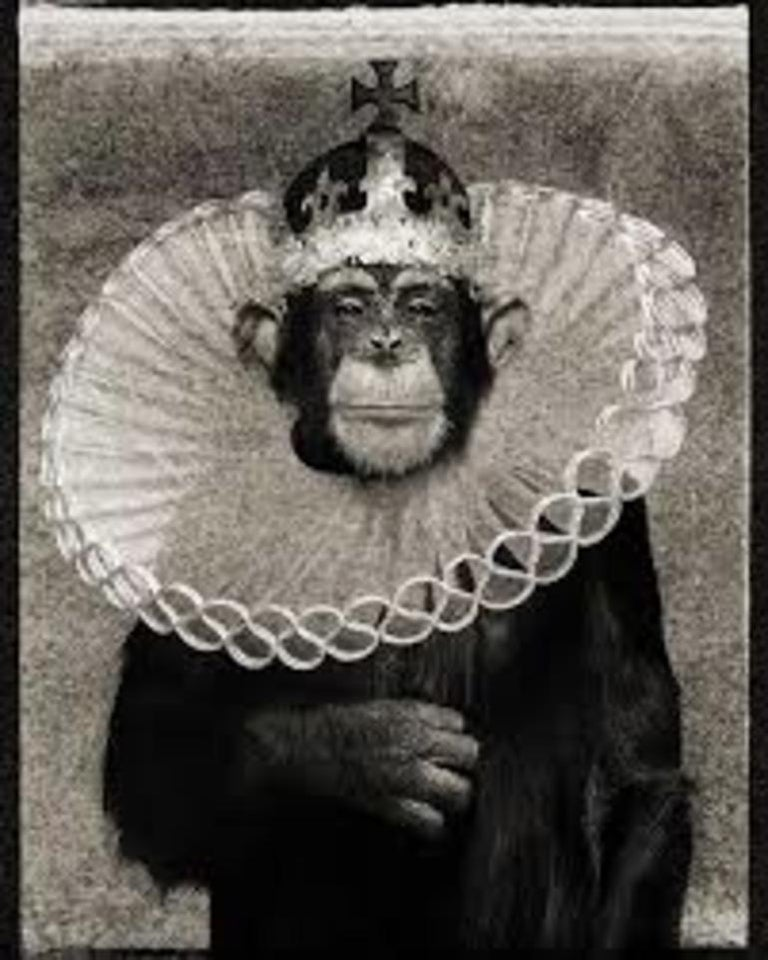 King Casey - iconic portrait of an chimpanzee as king - Photograph by Albert Watson
