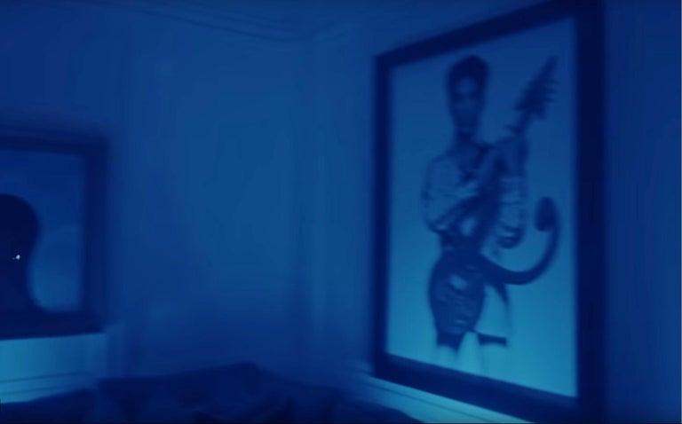 Prince with Guitar, Cleveland – Albert Watson, Portrait, Black & White, Pop - Contemporary Photograph by Albert Watson