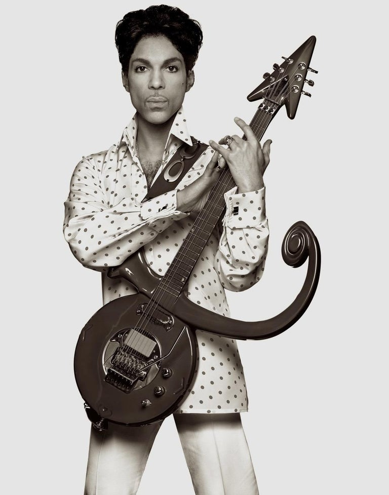 Prince with Guitar, Cleveland – Albert Watson, Portrait, Black & White, Pop - Photograph by Albert Watson
