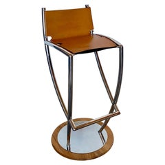 Albin Lindgren, Gecho Barstool in Stainless Steel, Wood and Leather Seat