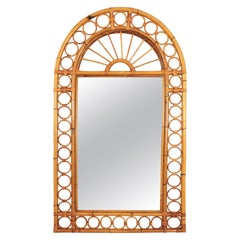 Franco Albini Style Bamboo Rattan Mirror with Arched Top & Circles Frame