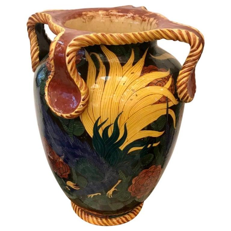 "Albisola ""La Fenice"" Vase Sculpture Ceramic, 1930, Italy For Sale"