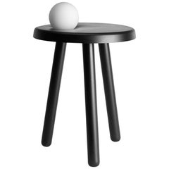 Alby Black Small Table with Lamp by Matteo Fiorini