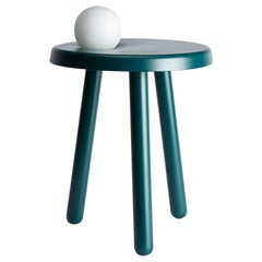 Alby Petrol Green Albi Small Table with Lamp by Matteo Fiorini