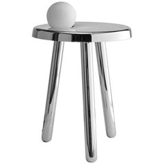 Alby Polished White Nickel Small Table with Lamp by Matteo Fiorini