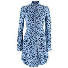 A.L.C. Marcella Blue Animal Print Zip Front Silk Mini Dress 00
