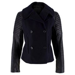 A.L.C. Navy Wool Leather Sleeve Single Breasted Jacket US6