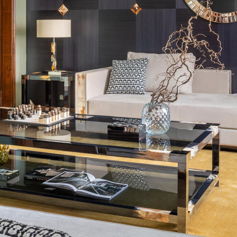 Contemporary Alcamo Coffee Table in Lacquered Wood with Corno Italiano Inlays, Mod. 2304 For Sale