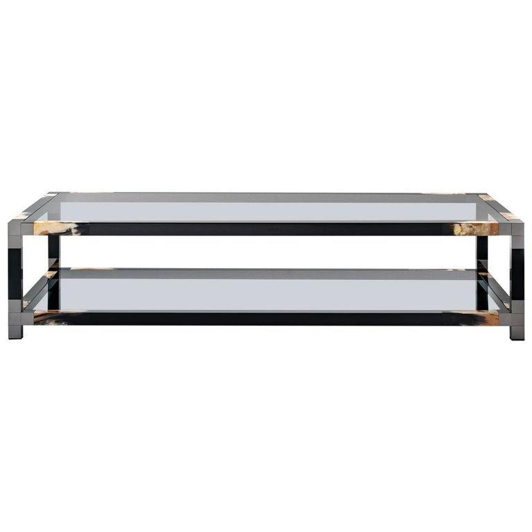 Alcamo Coffee Table in Lacquered Wood with Corno Italiano Inlays, Mod. 2304 For Sale