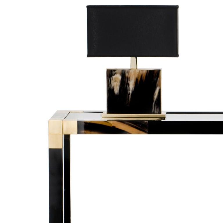 Contemporary Alcamo Console Table in Lacquered Wood with Corno Italiano Inlays, Model 1445 For Sale