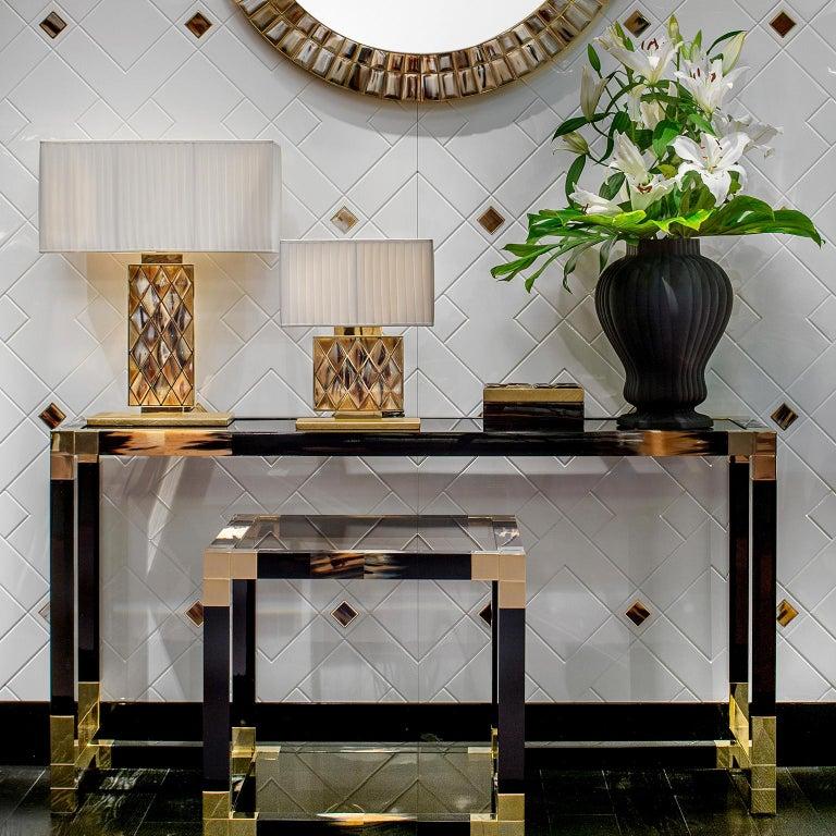 Glass Alcamo Console Table in Lacquered Wood with Corno Italiano Inlays, Model 1445 For Sale