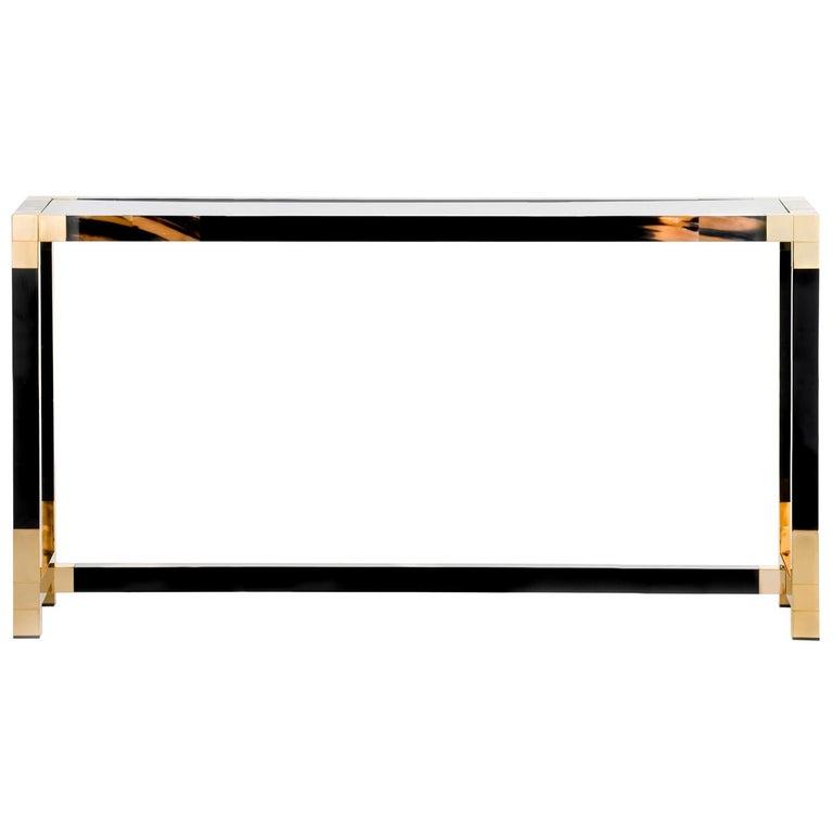Alcamo Console Table in Lacquered Wood with Corno Italiano Inlays, Model 1445 For Sale