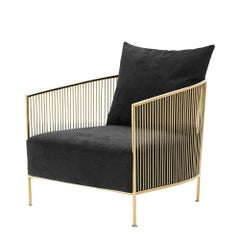 Alcazar Armchair in Gold or Polished Stainless Steel Finish
