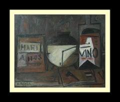 A. Bibeiro. Original oil canvas constructivist painting