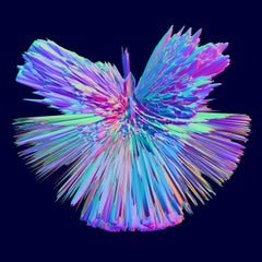Digital 3D art print over selfstanding acrylic glass, Indigo series