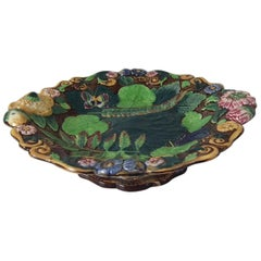 Alcock Majolica Butterfly, Flower and Leaf Comport