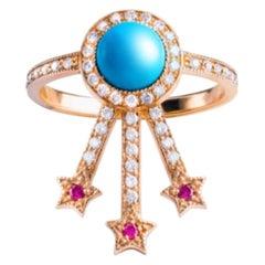 Alcylone Ring, Turquoise, Rubies, 18 Karat Rose Gold