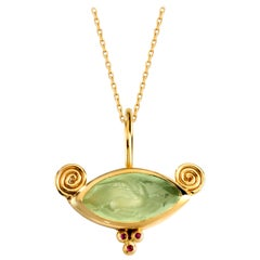 Alcyone Pendant in Agate, 18 Karat Yellow Gold