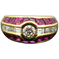 Aldebert Contemporary Ruby Diamonds Yellow Gold Cocktail Ring