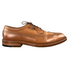 ALDEN EPAULET Size 10.5 Whiskey Tan Patena Leather Wing Lace Up Brogues