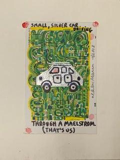 Small, Silver Car Driving Through A Maelstrom