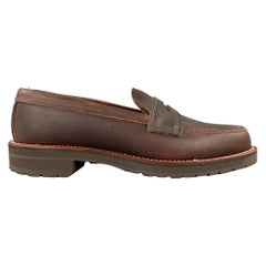 ALDEN Size 6.5 Dark Brown 5730S Kudu Leather Penny Loafers