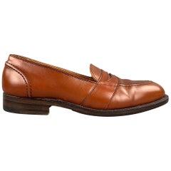 ALDEN Size 7 Burnished Tan Full Strap Leather Slip On 685 Penny Loafers