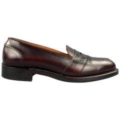 ALDEN Size 7 D Burgundy Full Strap Calf Leather 683 Slip On Penny Loafers